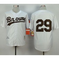 Mitchell and Ness 1953 Browns #29 Satchel Paige White Throwback Stitched Baseball Jersey