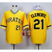 Mitchell and Ness 1971 Pirates #21 Roberto Clemente Yellow Throwback Stitched Baseball Jersey