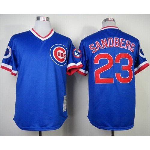 detailed look 8b3ea f4d1e Mitchell and Ness 1984 Cubs #23 Ryne Sandberg Blue Throwback ...