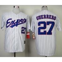 Mitchell and Ness 2000 Expos #27 Vladimir Guerrero White Blue Strip Stitched Throwback Baseball Jersey