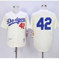 Mitchell and Ness Dodgers #42 Jackie Robinson Cream Throwback Baseball Jersey