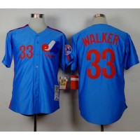 Mitchell and Ness Expos #33 Larry Walker Blue Stitched Throwback Baseball Jersey