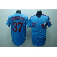 Mitchell and Ness Expos #37 Steve Rogers Blue Stitched Throwback Baseball Jersey