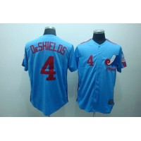Mitchell and Ness Expos #4 Delino Deshields Blue Stitched Throwback Baseball Jersey