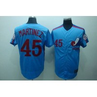 Mitchell and Ness Expos #45 Pedro Martinez Blue Stitched Throwback Baseball Jersey