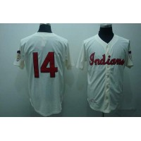 Mitchell and Ness Indians #14 Larry Doby Stitched Cream Throwback Baseball Jersey