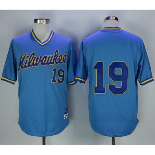 9a30ca45349 Mitchell and Ness Milwaukee Brewers  19 Robin Yount Stitched Blue Throwback  MLB Jersey