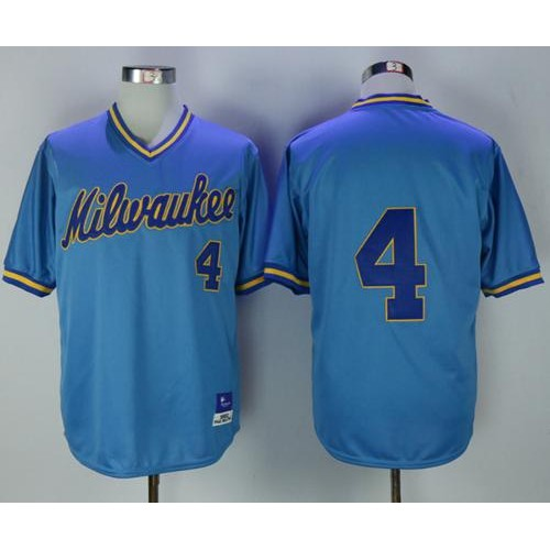 size 40 06de4 0e128 Mitchell and Ness Milwaukee Brewers #4 Paul Molitor Stitched ...