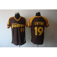 Mitchell and Ness Padres #19 Tony Gwynn Coffee Stitched Throwback Baseball Jersey