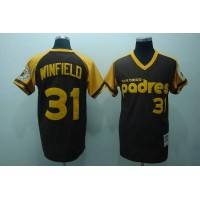 Mitchell and Ness Padres #31 Dave Winfield Stitched Coffee Throwback Baseball Jersey