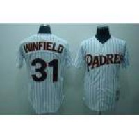 Mitchell and Ness Padres #31 Dave Winfield Stitched White(Black Strip) Throwback Baseball Jersey