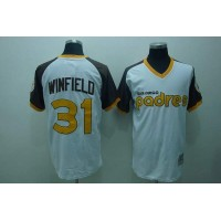 Mitchell and Ness Padres #31 Dave Winfield Stitched White Throwback Baseball Jersey
