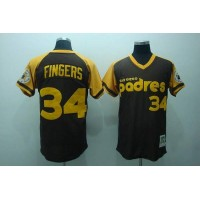 Mitchell and Ness Padres #34 Rollie Fingers Stitched Coffee Throwback Baseball Jersey