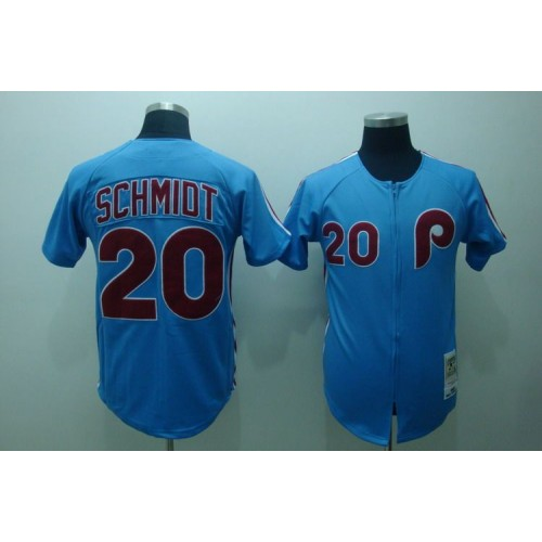 Mitchell and Ness Phillies  20 Mike Schmidt Stitched Blue Throwback  Baseball Jersey 6eb19022e79