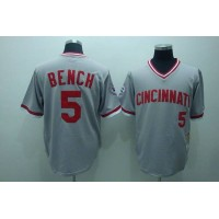 Mitchell and Ness Reds #5 Johnny Bench Stitched Grey Throwback Baseball Jersey