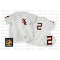 Mitchell and Ness White Sox #2 Nellie Fox Stitched White Throwback Baseball Jersey