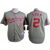 Nationals #2 Denard Span Grey Cool Base Stitched Baseball Jersey
