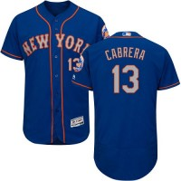New York Mets #13 Asdrubal Cabrera Blue(Grey NO.) Flexbase Authentic Collection Stitched MLB Jersey
