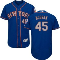 New York Mets #45 Tug McGraw Blue(Grey NO.) Flexbase Authentic Collection Stitched MLB Jersey