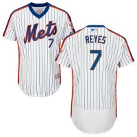New York Mets #7 Jose Reyes White(Blue Strip) Flexbase Authentic Collection Alternate Stitched MLB Jersey