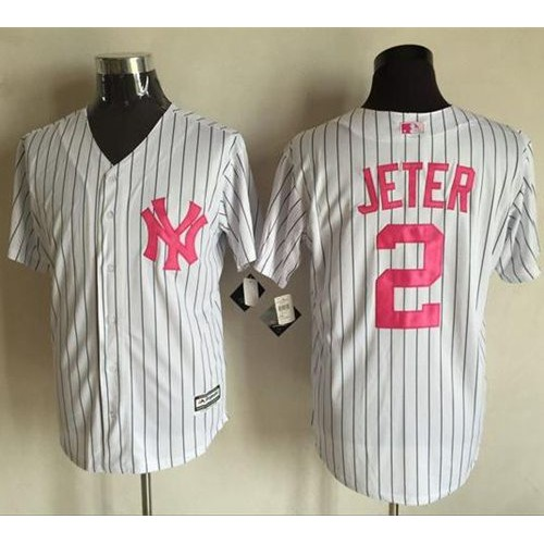 bde35cb91 New York Yankees  2 Derek Jeter White Strip New Cool Base 2016 Mother s Day Stitched  Baseball Jersey