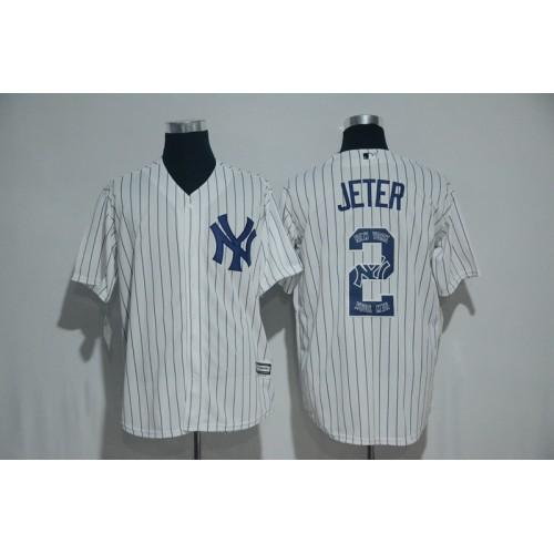 f3fffff39 New York Yankees  2 Derek Jeter White Team Logo Print Cool Base Stitched  Baseball Jersey