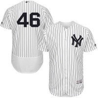 New York Yankees #46 Andy Pettitte White Strip Flexbase Authentic Collection Stitched MLB Jersey
