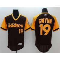 Padres #19 Tony Gwynn BrownGold Flexbase Authentic Collection Cooperstown Stitched Baseball Jersey