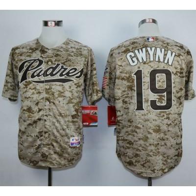 Padres #19 Tony Gwynn Camo Alternate 2 Cool Base Stitched Baseball Jersey