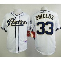 Padres #33 James Shields White Cool Base Stitched Baseball Jersey