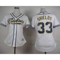 Padres #33 James Shields White Home Women's Stitched Baseball Jersey