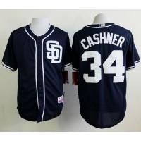 Padres #34 Andrew Cashner Dark Blue Alternate 1 Cool Base Stitched Baseball Jersey