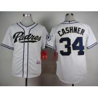 Padres #34 Andrew Cashner White Cool Base Stitched Baseball Jersey