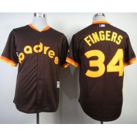 Padres #34 Rollie Fingers Coffee 1984 Turn Back The Clock Stitched Baseball Jersey