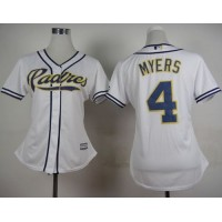 Padres #4 Wil Myers White Home Women's Stitched Baseball Jersey