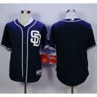 Padres Blank Dark Blue Cool Base Stitched Baseball Jersey