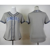 Padres Blank Grey Road Women's Stitched Baseball Jersey