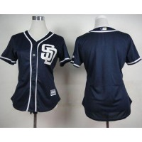Padres Blank Navy Blue Alternate 1 Women's Stitched Baseball Jersey