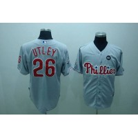 Phillies #26 Chase Utley Grey Stitched Youth Baseball Jersey