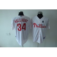 Phillies #34 Roy Halladay Stitched White Red Strip Youth Baseball Jersey