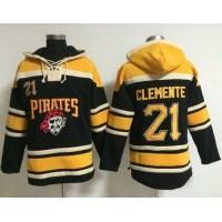 Pirates #21 Roberto Clemente Black Sawyer Hooded Sweatshirt Baseball Hoodie