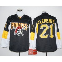 Pittsburgh Pirates #21 Roberto Clemente Black Long Sleeve Stitched Baseball Jersey
