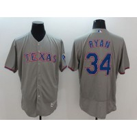 Rangers #34 Nolan Ryan Grey Flexbase Authentic Collection Stitched Baseball Jersey