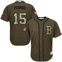 Red Sox #15 Dustin Pedroia Green Salute to Service Stitched Baseball Jersey