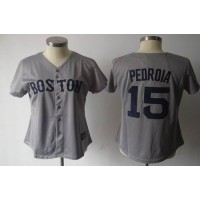 Red Sox #15 Dustin Pedroia Grey Women's Fashion Stitched Baseball Jersey
