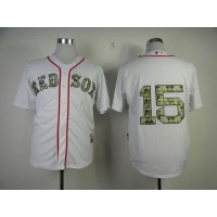 Red Sox #15 Dustin Pedroia White USMC Cool Base Stitched Baseball Jersey