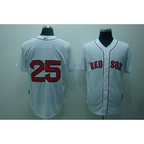 Red Sox  25 Mike Lowell White Stitched Baseball Jersey 63c814086a4