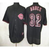 Reds #32 Jay Bruce Black Fashion Stitched Baseball Jersey