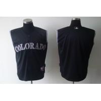 Rockies Blank Black Vest Style Stitched Baseball Jersey
