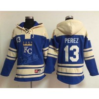 Royals #13 Salvador Perez Light Blue Sawyer Hooded Sweatshirt Baseball Hoodie